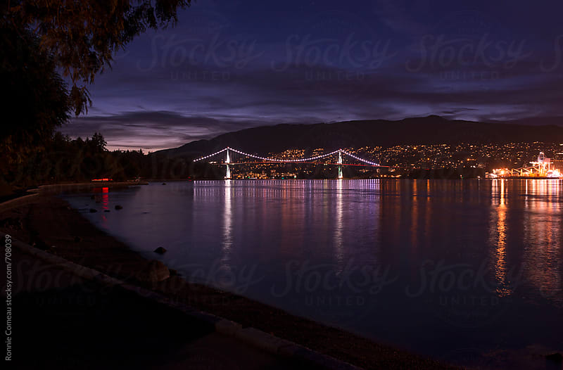 Lion's Gate Bridge Vancouver At Night by Ronnie Comeau for Stocksy United