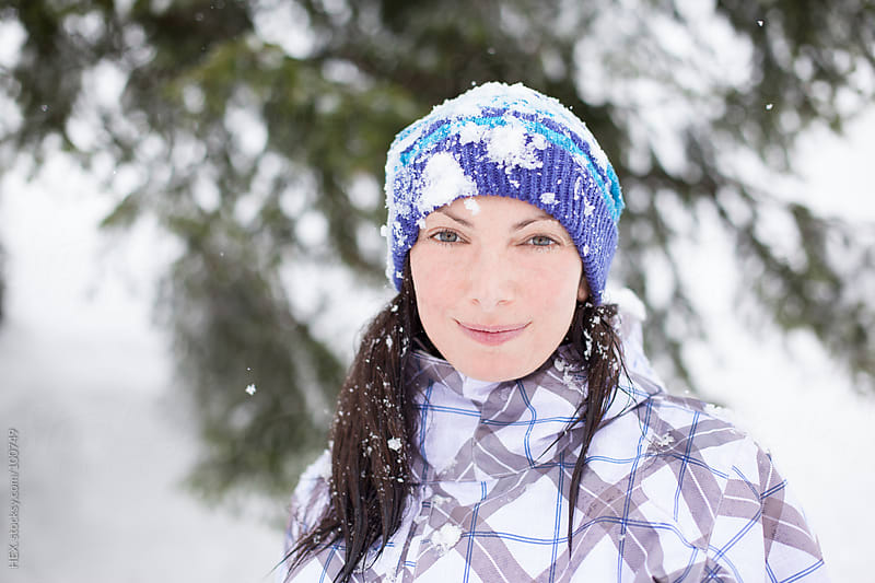 Beautiful Woman Portrait with Snow by HEX. for Stocksy United