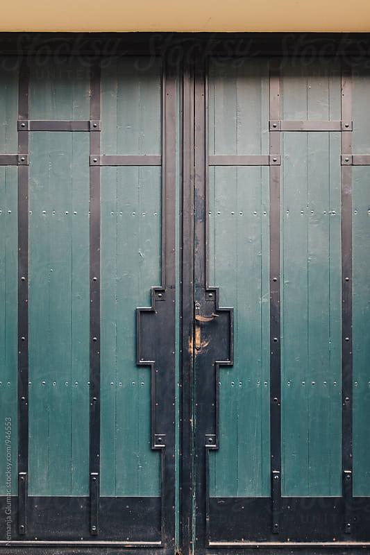 Simple Green Wooden Door  by Nemanja Glumac for Stocksy United