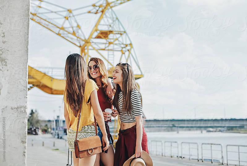 Happy Girls Having Fun Outdoors by Lumina for Stocksy United