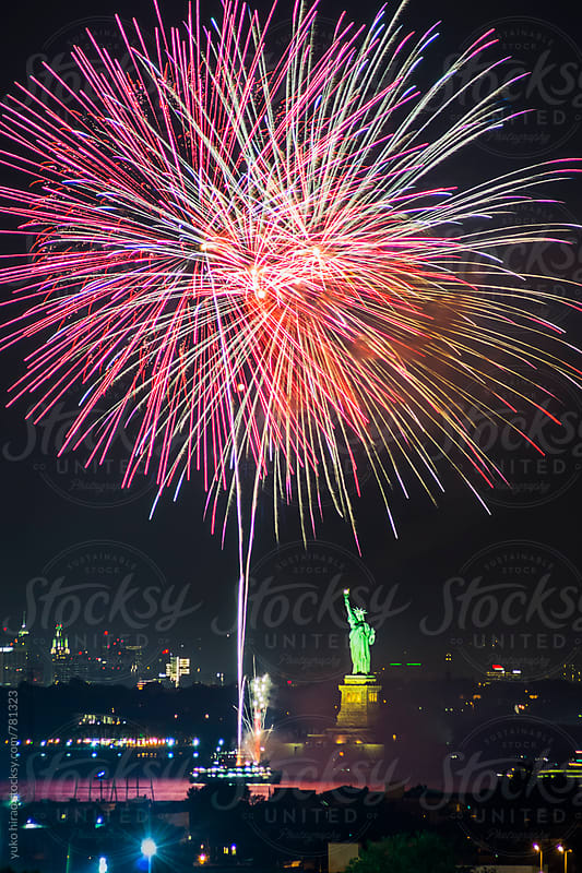 Celebration fireworks with the Statue of Liberty in New York by yuko hirao for Stocksy United