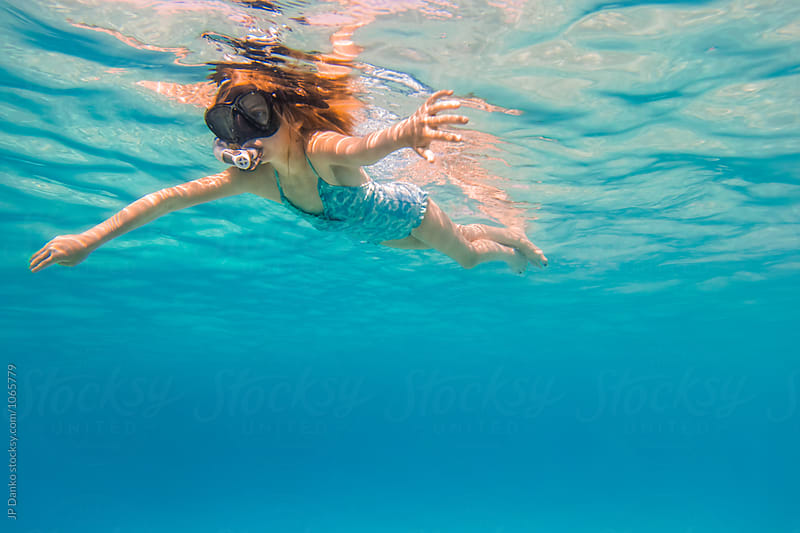 Little Girl Snorkeling Underwater at All Inclusive Caribbean Resort White Sand Beach by JP Danko for Stocksy United