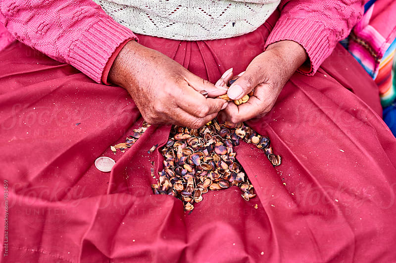 Unrecognizable woman peeling nuts by Trent Lanz for Stocksy United