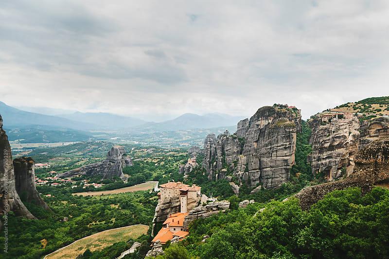 Beautiful landscape in a cloudy day of Meteora, Greece by Aleksandar Novoselski for Stocksy United