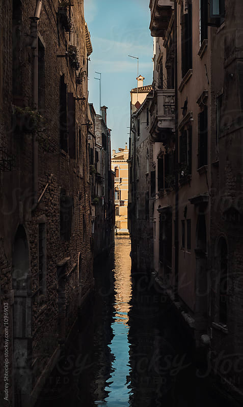 Narrow canal street with view on Grand Canal .Venice/Italy. by Audrey Shtecinjo for Stocksy United