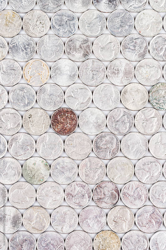 Group Image of American Nickels on Heads by suzanne clements for Stocksy United