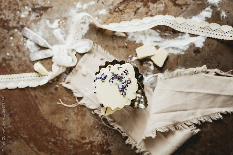 Homemade pralines with white chocolate and lavender by Tatjana Ristanic for Stocksy United
