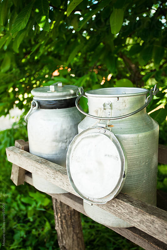 Milk collection canisters on the shelf outdoors. by Mosuno for Stocksy United