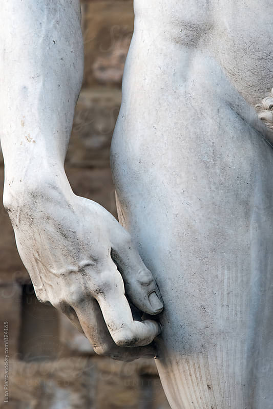 Michelangelo's David detail Piazza della Signoria, Firenze, Italy.  by Luca Pierro for Stocksy United