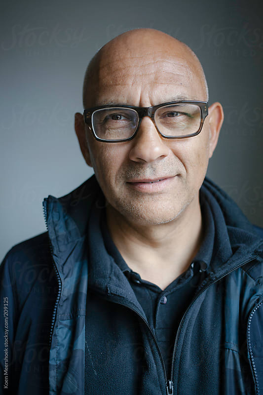 Portrait Of A Happy Bald Man With Glasses By Koen