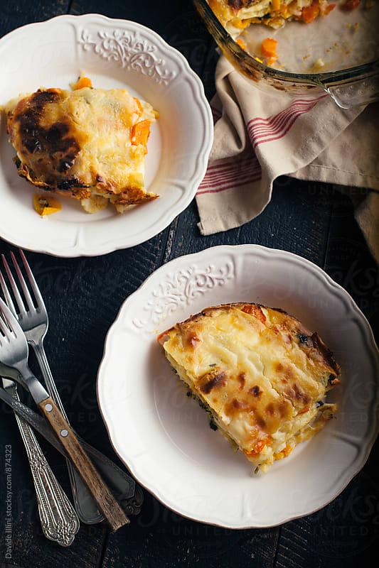 Homemade lasagna with vegetables by Davide Illini for Stocksy United