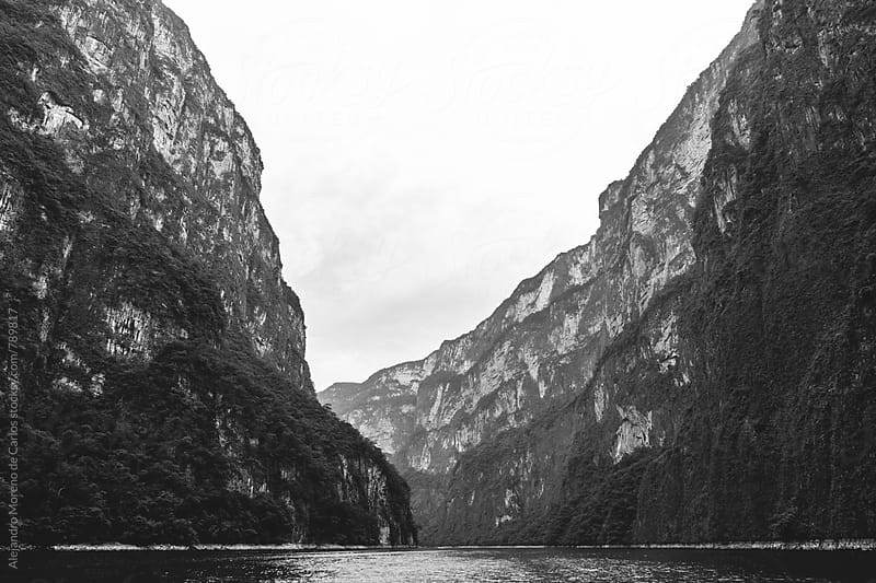 Black and White Scenic valley view of canyon and lake surrounded by vegetation in Chiapas, Mexico. by Alejandro Moreno de Carlos for Stocksy United
