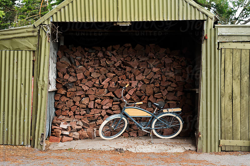 bike in the wood shed by Gillian Vann for Stocksy United