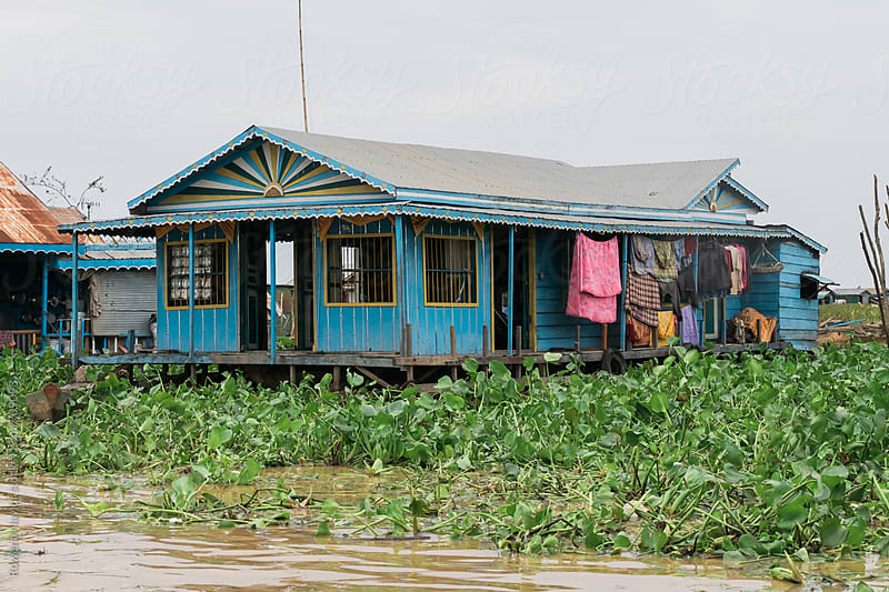 Flaoting House on Tonle Sap Lake, Cambodia by Rowena Naylor for Stocksy United