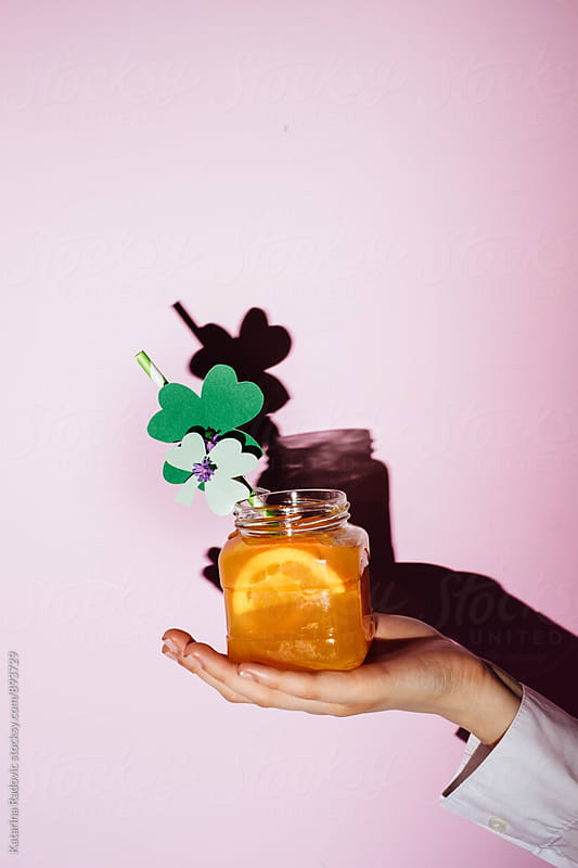 Paper Shamrock Cocktail Decoration for Saint Patrick's Day by Katarina Radovic for Stocksy United