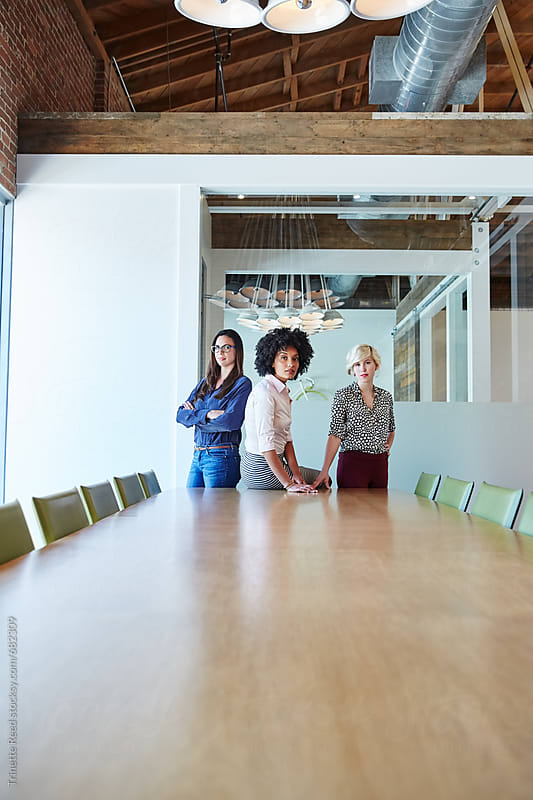 Portrait of three millennial businesswomen  by Trinette Reed for Stocksy United