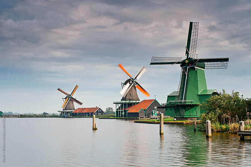 Windmills at Zaanse Schans, Zaandam, Noord Holland, Holland, Europe by Gavin Hellier for Stocksy United