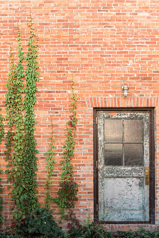 back door to an old brick building by Deirdre Malfatto for Stocksy United