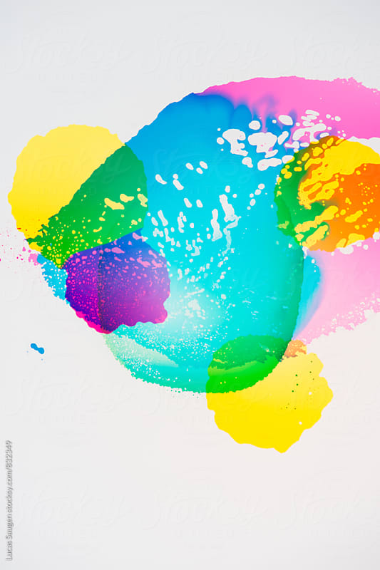 A group of colorful vibrant transparent colors on white. by Lucas Saugen for Stocksy United