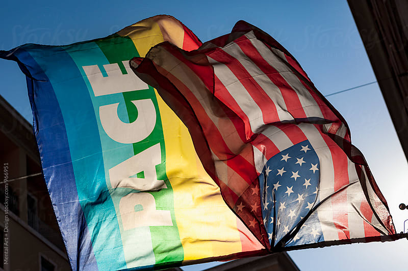 Gay rainbow and American flag. by Mental Art + Design for Stocksy United