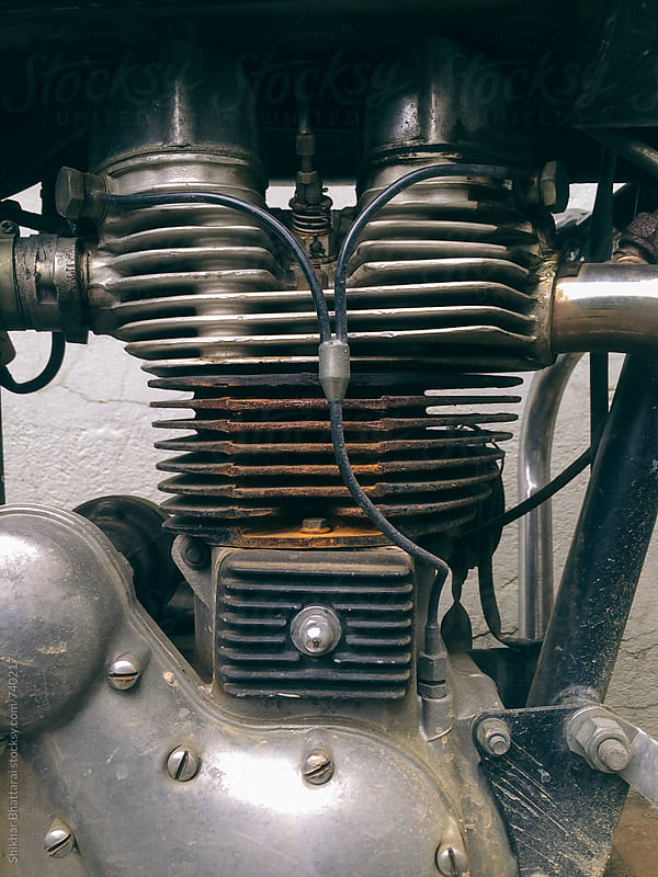 Close up of an old rusted motorcycle engine. by Shikhar Bhattarai for Stocksy United