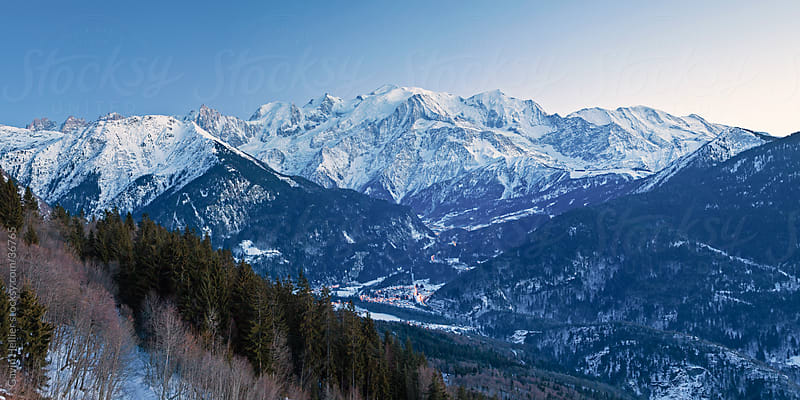 Chamonix Valley, Mont Blanc and the Mont Blanc Massif range of mountains, French Alps, Haute-Savoie, France by Gavin Hellier for Stocksy United
