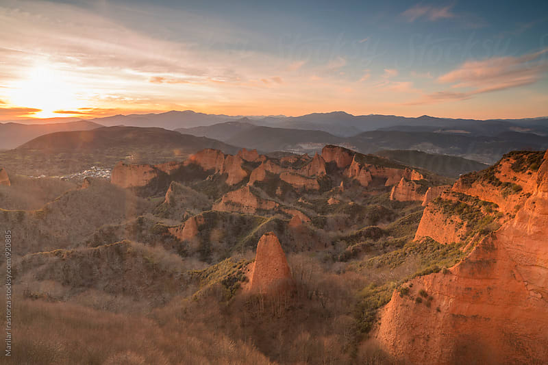 Las  Médulas at sunset by Marilar Irastorza for Stocksy United