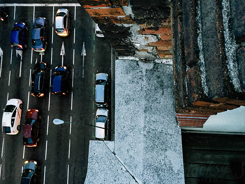 Aerial view of street in Madrid with heavy traffic.  by BONNINSTUDIO for Stocksy United
