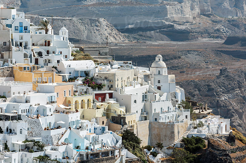 Thera the capital of the greek island of Santorini. by Paul Phillips for Stocksy United