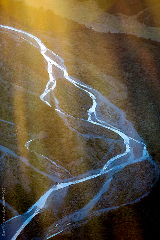 Aerial view of a river valley by Gary Parker for Stocksy United