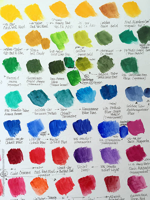 Paint swatches and their names written on white paper by Carolyn Lagattuta for Stocksy United