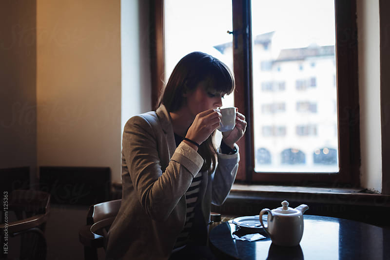 Beautiful Woman Drinking Tea by HEX. for Stocksy United