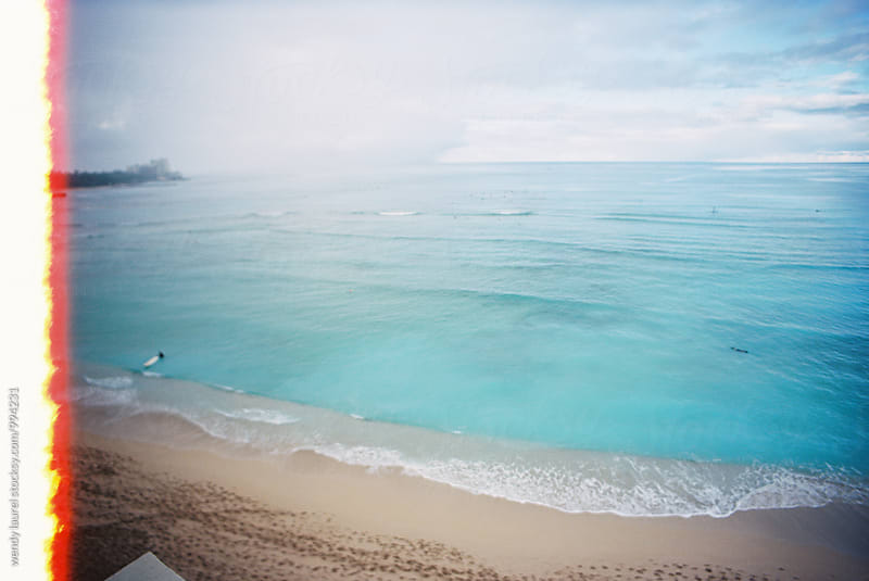 light leak start of film roll of waikiki beach by wendy laurel for Stocksy United
