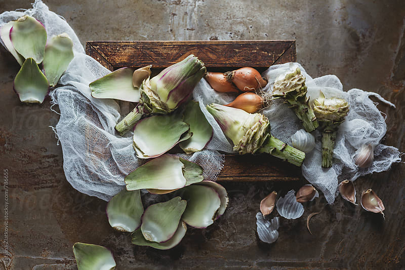 Ingredients for artichokes soup by Tatjana Zlatkovic for Stocksy United
