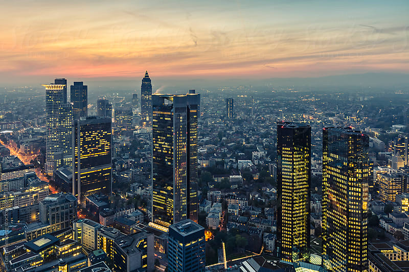 Panorama of Frankfurt am Main at Sunset (Germany) by Tom Uhlenberg for Stocksy United