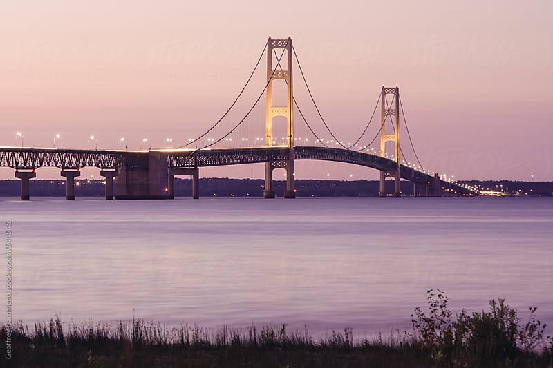 Macinac Bridge at Twilight, Michigan by Geoffrey Hammond for Stocksy United