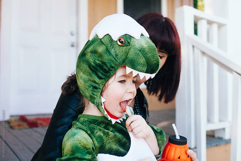 Young boy in halloween costume  by Kayla Snell for Stocksy United