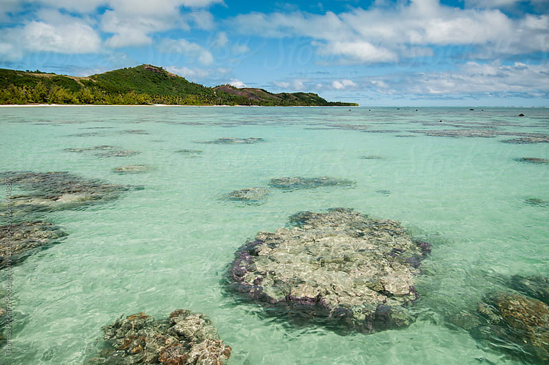 Lagoon and coral heads, Aitutaki Island, Cook Islands. by Thomas Pickard for Stocksy United