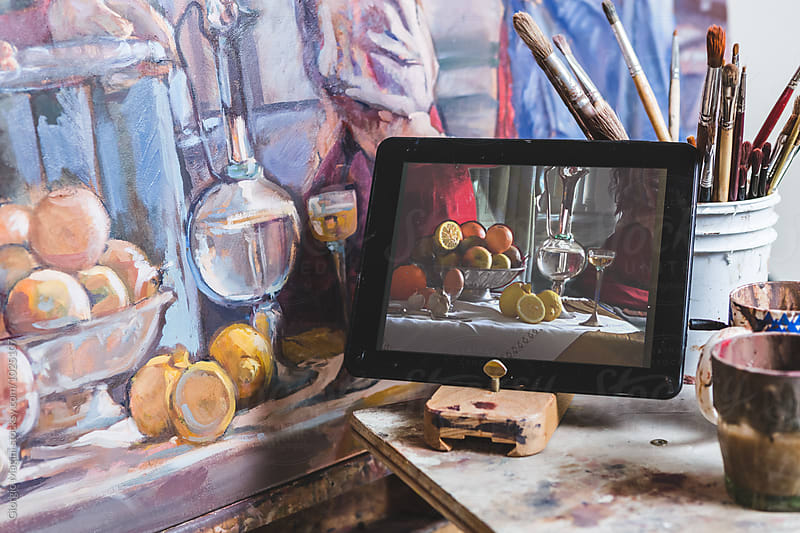 Painting on Canvas Helped by a Digital Tablet by Giorgio Magini for Stocksy United