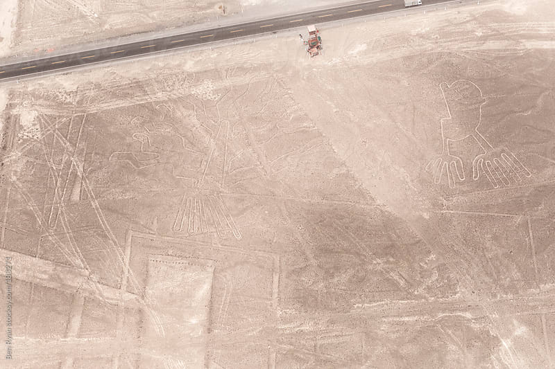 Observation tower with hands and tree geoglyphs at Nazca Peru seen from an air plane by Ben Ryan for Stocksy United