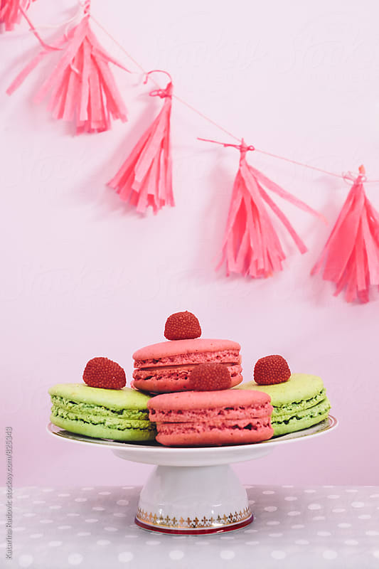 Pastel Macarons on a Plate Ready For Party by Katarina Radovic for Stocksy United