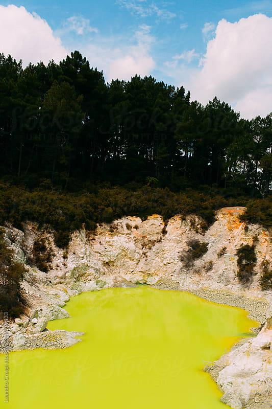 Devil's bath, Lake Ngakoro by Leandro Crespi for Stocksy United