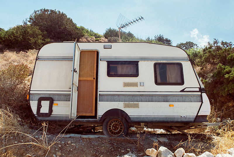 retro camping trailer outdoor by Sonja Lekovic for Stocksy United