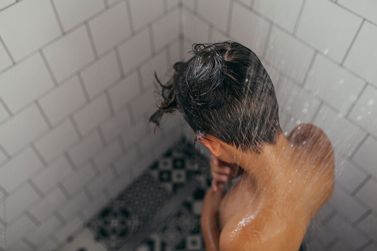Teen taking a bath