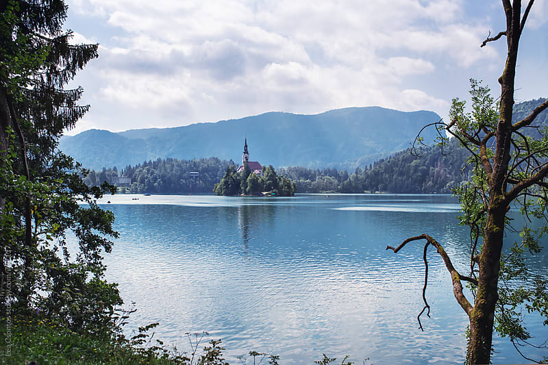 Lake Bled with Bled Island, Slovenia by Lea Csontos for Stocksy United