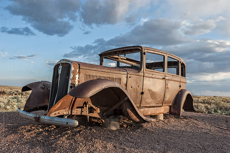 Old Car Near Route 66 by Adam Nixon for Stocksy United