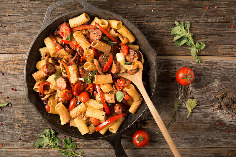 Rigatoni With Sausage and Peppers  by Jeff Wasserman for Stocksy United