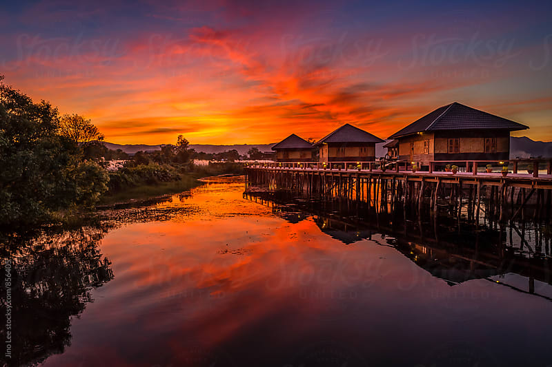Sunset over Inle Lake, Myanmar by Jino Lee for Stocksy United