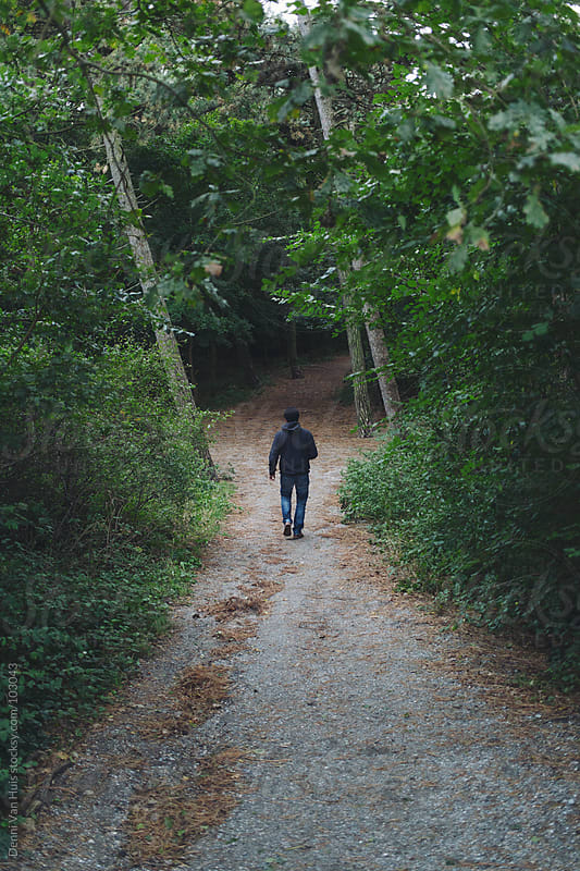Man walking down a path in a forest by Denni Van Huis for Stocksy United