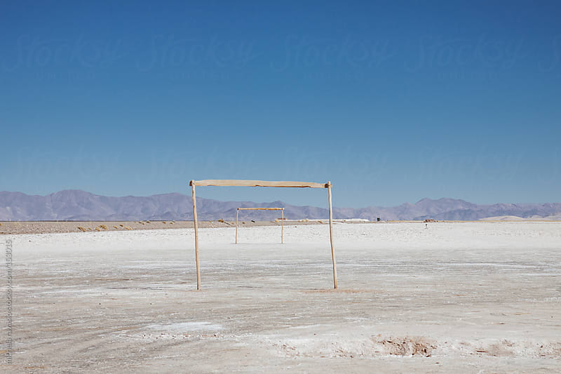 Football field on an expanse of salt by michela ravasio for Stocksy United